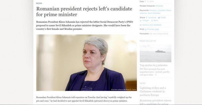 Ce spune presa internaţională despre decizia Preşedintelui Iohannis de a o refuza pe Sevil Shhaideh ca Premier