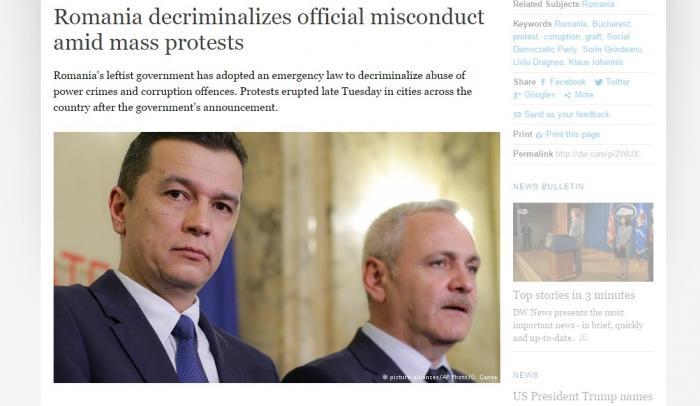 """Reacţii EXTREM DE CRITICE în presa internaţională la adoptarea legii graţierii şi modificarea Codului Penal. """"CEL MAI MARE RECUL al reformelor anti-corupţie"""""""