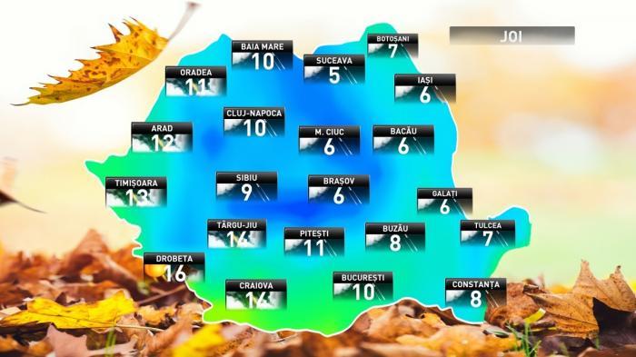 Prognoza meteo pentru joi, 15 noiembrie 2018
