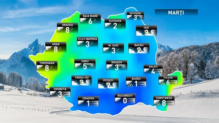 Prognoza meteo pentru marţi, 4 decembrie 2018