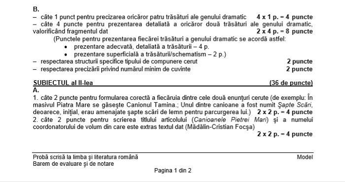 Evaluarea națională 2018 clasa VIII Barem de evaluare la limba română