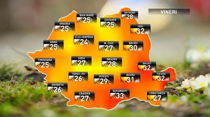 Prognoza meteo pentru vineri, 15 iunie