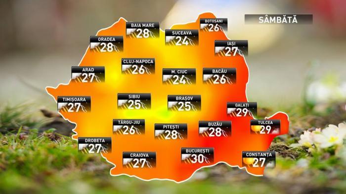 Prognoza meteo pentru sâmbătă, 16 iunie