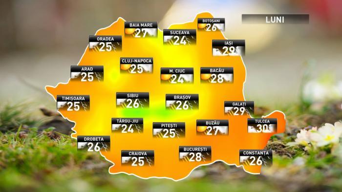 Prognoza meteo pentru luni, 18 iunie