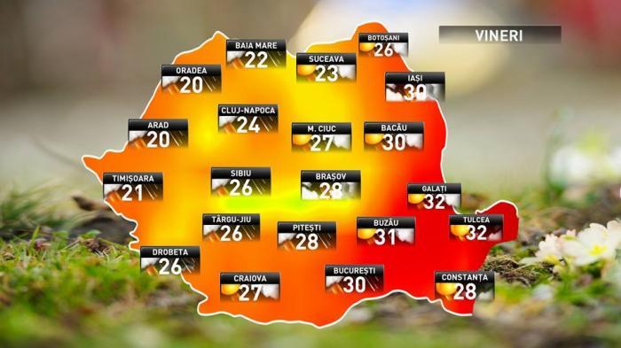 Prognoza meteo pentru vineri, 22 iunie