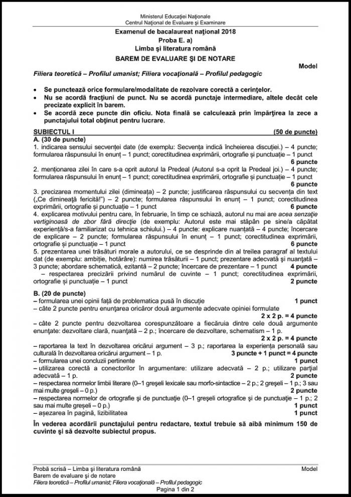 Model barem subiectul 1 la română de la Bac 2018, profil umanist