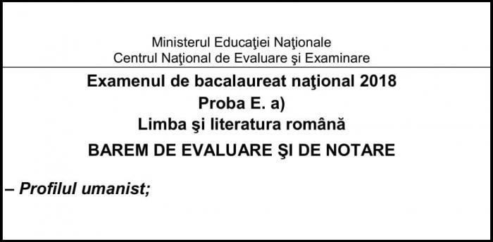Barem română Bac 2018 profil umanist: rezolvarea modelelor de subiecte la Bacalaureat