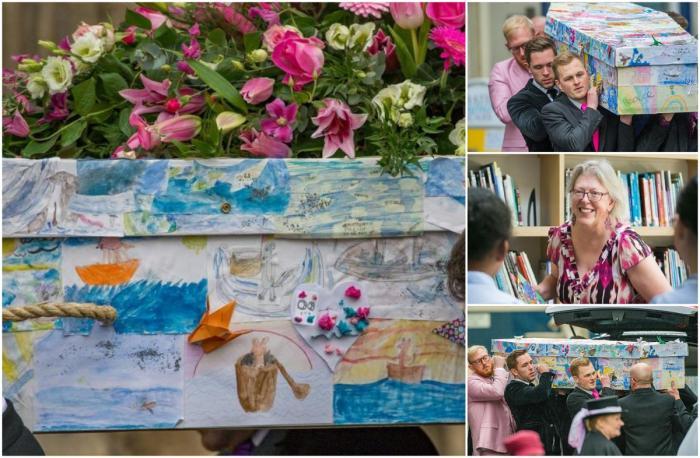 Învățătoare înmormântată într-un sicriu acoperit cu desenele elevilor, devastați de moartea femeii, răpusă de cancer