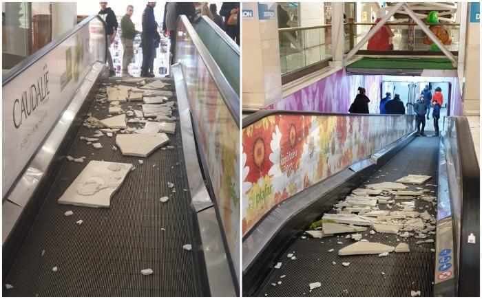 La un pas de tragedie într-un mall din București! Plăci mari de marmură s-au desprins de pe un stâlp și au căzut pe scările rulante