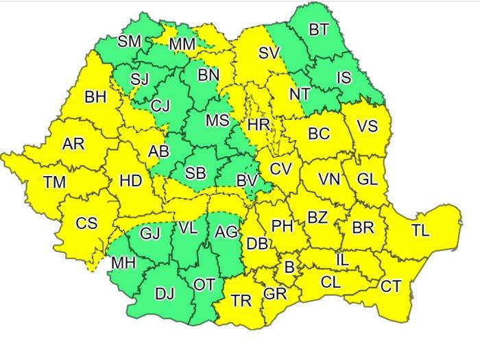 Cod galben de vreme severă în majoritatea ţării, de vineri. Meteorologii anunţă ninsori, ploi şi vânt puternic
