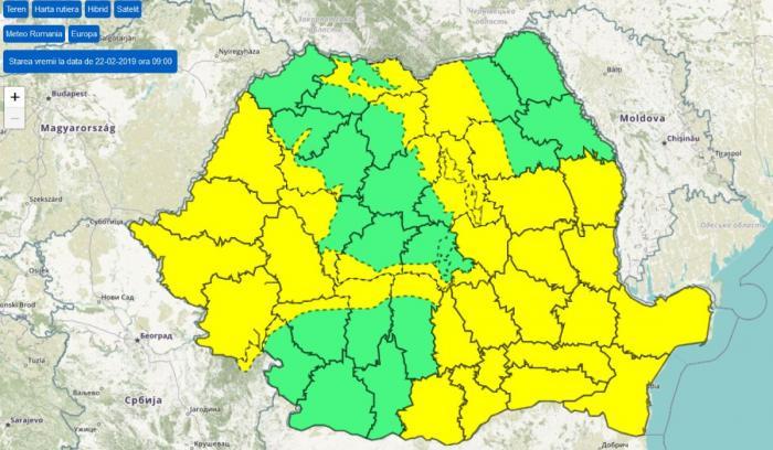 Cod galben de ninsori şi viscol, emis de Administraţia Naţională de Meteorologie