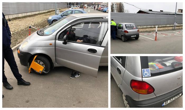 Bătrân cu handicap, umilit de un paznic în parcarea unui magazin din Bucureşti