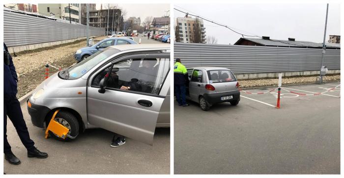 Bătrân umilit de un paznic într-o parcare a unui magazin din Bucureşti