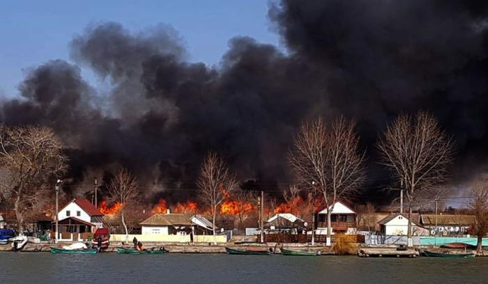 Incendiu devastator în Delta Dunării. Sute de hectare din rezervaţie au fost cuprinse de flăcări