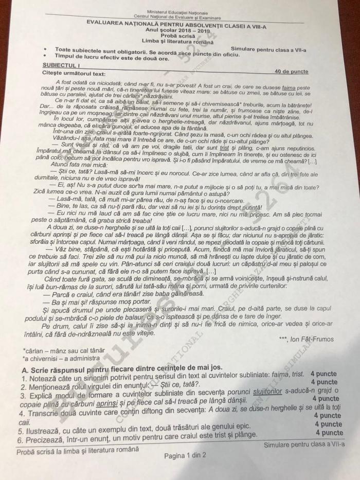 Subiecte simulare Evaluare Naţională la limba română. Ce subiecte au avut de rezolvat elevii claselor VII-a şi a VIII-a