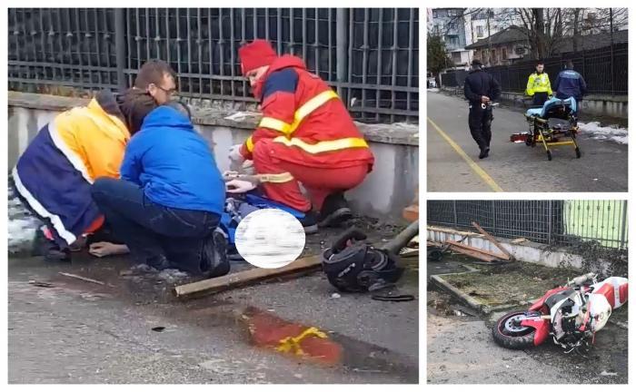 Tânăr pe motocicletă, urmărit de poliţişti, intră cu viteză în parcul municipal din Baia Mare şi spulberă un bărbat (Video)