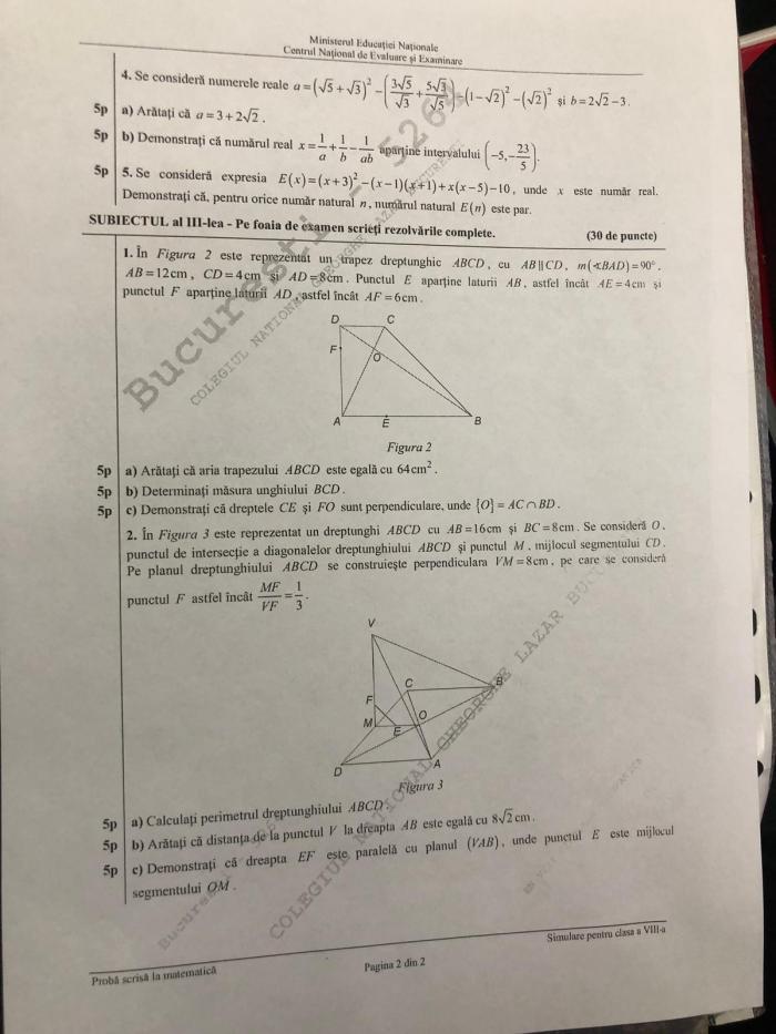 Subiecte matematică simulare Evaluare Naţională pentru clasa a VIII-a