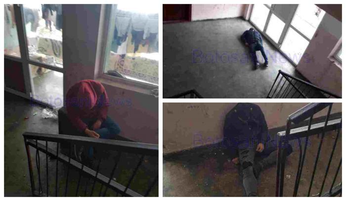 Tineri drogaţi în scara blocului