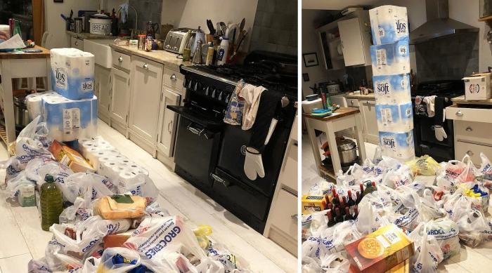 Sacoşile cu mâncare şi sulurile de hârtie igienică luate de bărbat