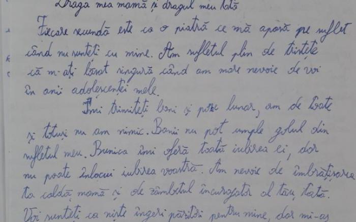 O fetiţă din Olt le-a scris părinţilor