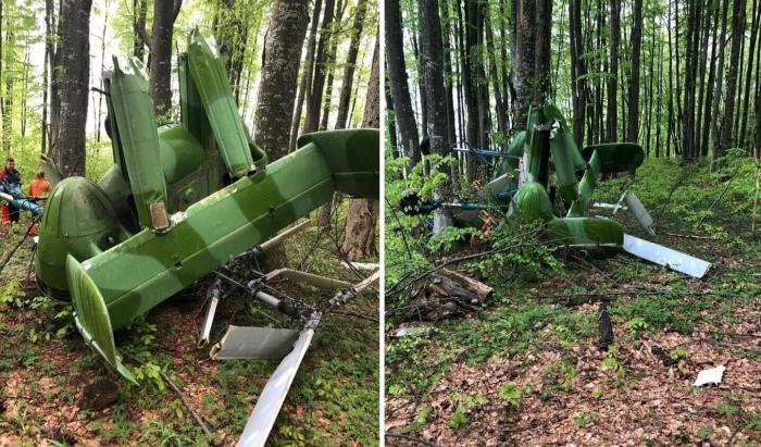 Epava elicopterului prăbușit lângă Săpânța