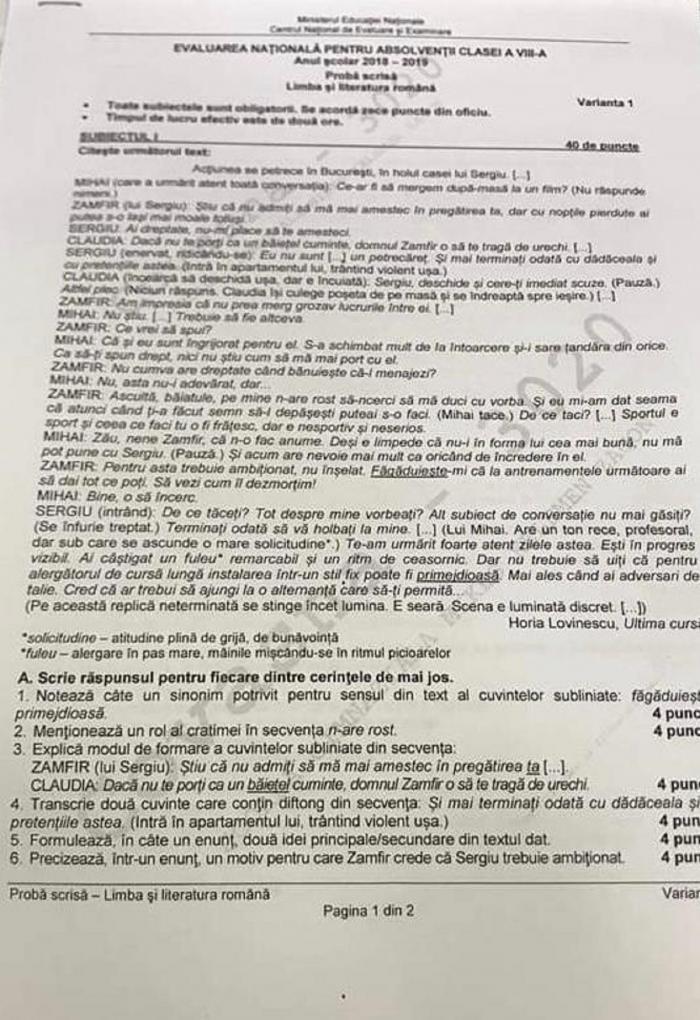 La subiectul I, punctul B, elevii de clasa a VIII-a au avutde redactat o argumentație pe baza unui text din genul dramatic