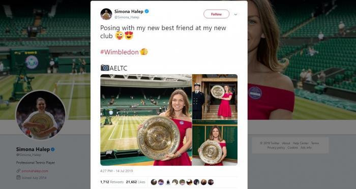 """Simona Halep, ședință foto cu trofeul de la Wimbledon: """"Noul meu prieten"""""""