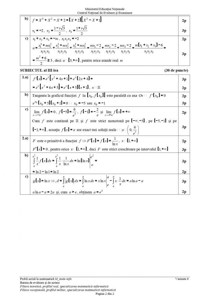 Barem matematică Bac 2019, specializarea mate-info