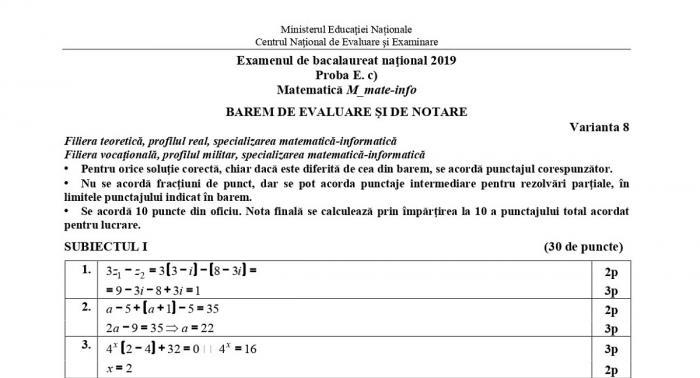 Baremul la matematică