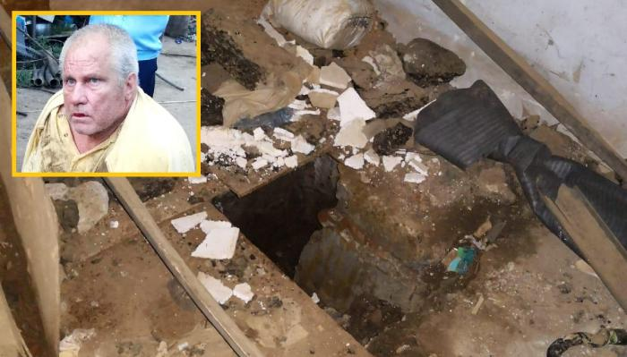 Intrarea în camera subterană din casa criminalului din Caracal