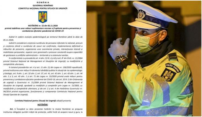 CNSU: Revine declarația pe proprie răspundere, mască obligatorie peste tot, magazinele închise după ora 21.00