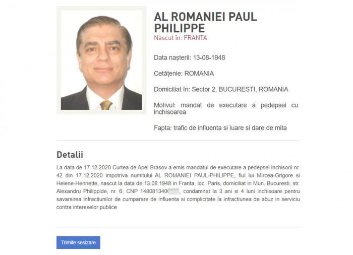 Fotografia Prințului Paul, pe site-ul Poliției Române