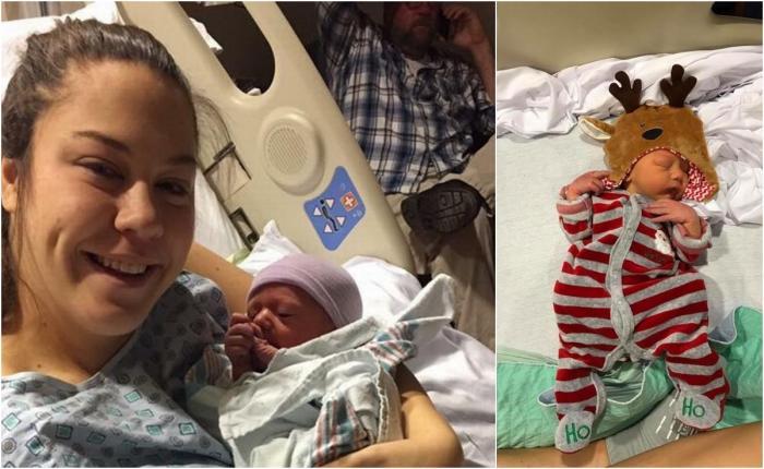 Ally, pe patul de spital, la puţin timp după naştere