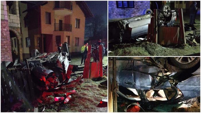 Patru tineri au făcut prăpăd cu BMW-ul, pe un drum din Repedea, în Maramureş