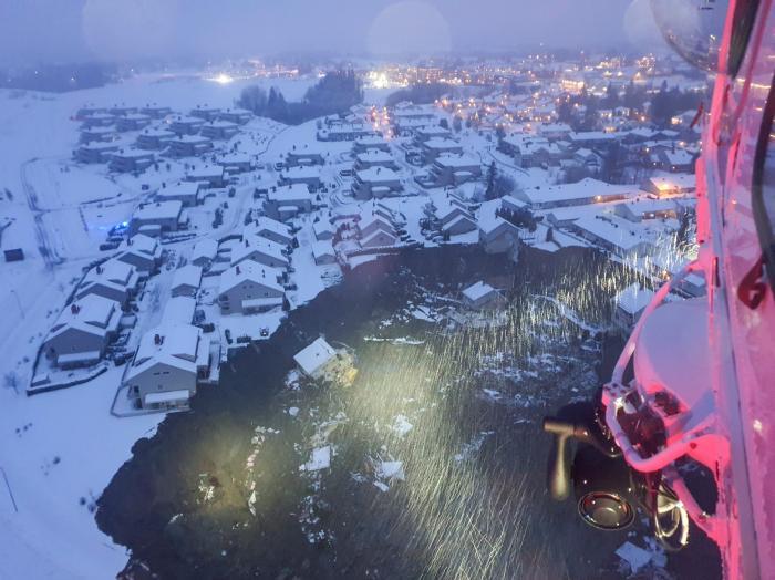 Imagini cu dezastrul din Norvegia, după o alunecare de teren