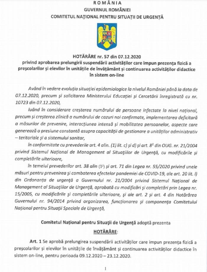 Guvernul a prelungit școala online cu încă 14 zile. Hotărârea CNSU, semnată de Ludovic Orban înainte de demisie