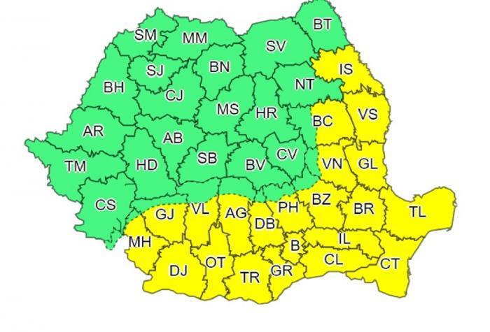 Harta județelor afectate de codul galben de caniculă