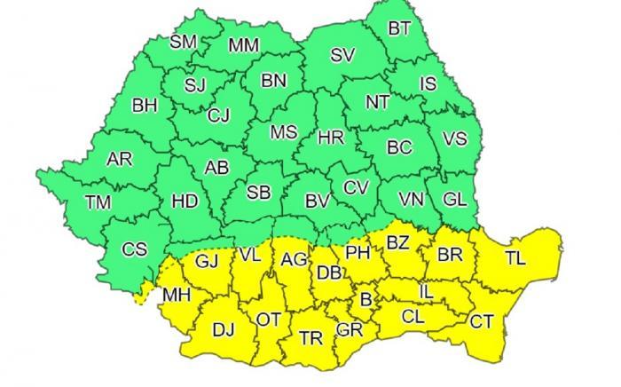 Alertă meteo de ploi torențiale, grindină și vijelii în toată țara, până sâmbătă dimineață. Caniculă în București și mai multe județe