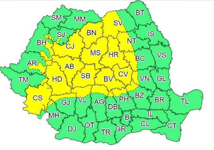 Harta judeţelor afectate de codul galben