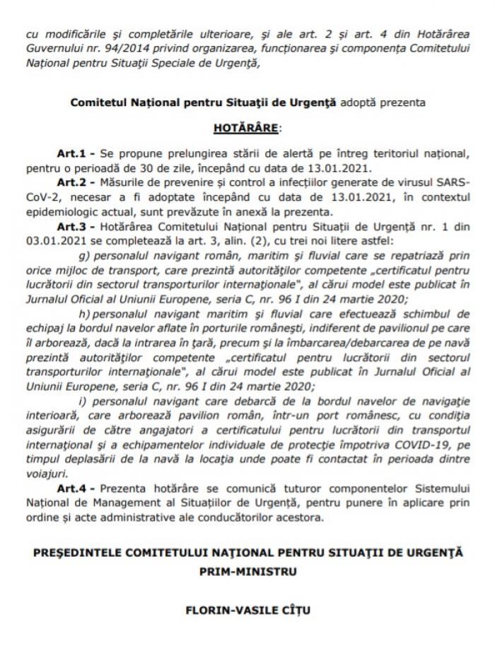 Starea de alertă, prelungită în România cu încă 30 de zile. Reguli şi măsuri anunţate de CNSU