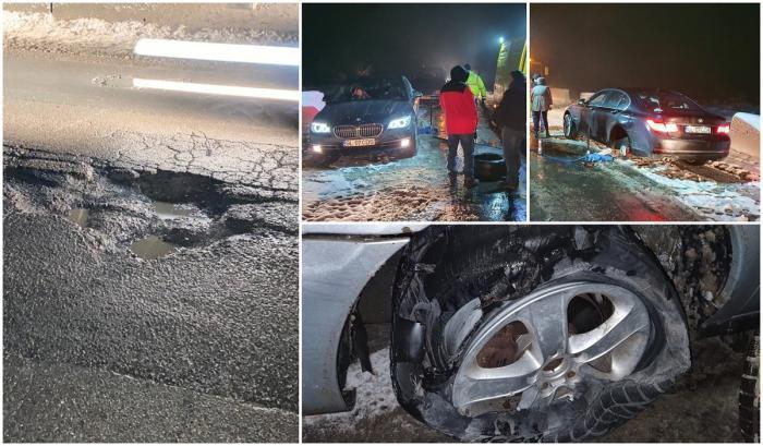 Zeci de şoferi şi-au distrus maşinile în gropile de pe DN 68 A, între Coșava și Coșevița, judeţul Timiş