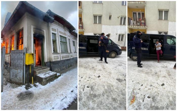 Jandarmii au scos din flăcări 4 copii, la Bistrița