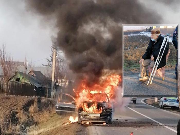 O mașină a luat foc în mers, la Vaslui