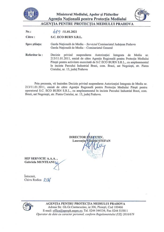 Decizie a Agenţiei pentru Protecţia Mediului în cazul Ecoburn