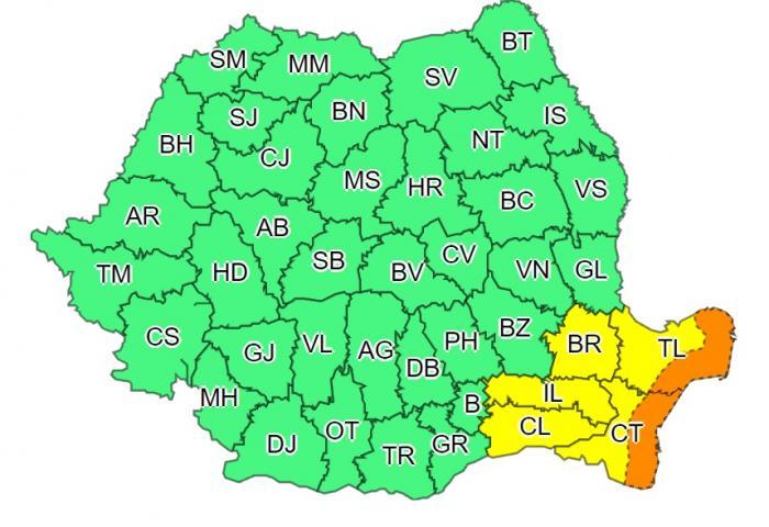 Coduri galben și portocaliu de ploi torențiale și vijelii în România.Vreme severă în cinci județe, până miercuri dimineață