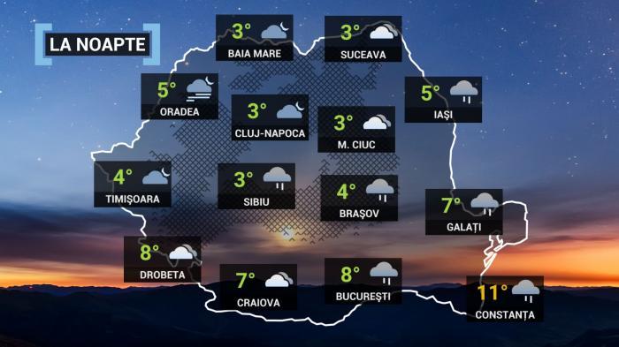 Vremea 13 octombrie. Ploi şi frig în cea mai mare parte a ţării. La munte, lapoviţă şi ninsoare