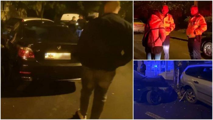 Un BMW a făcut prăpăd în parcarea unui bloc din Baia Mare. O tânără s-ar fi urcat la volan după ce a jucat poker și a băut alcool