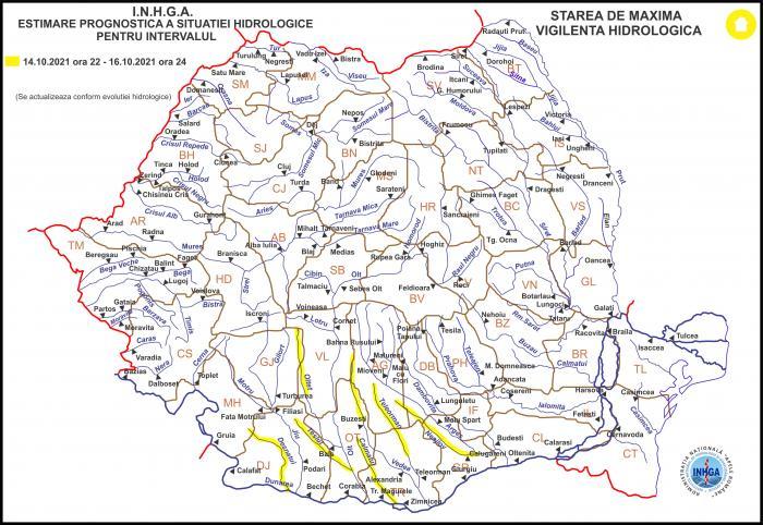 Avertizare hidrologică: Râuri din zece județe, sub cod galben de inundații până sâmbătă, la miezul nopții