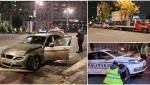 Un BMW a spulberat mașina Poliției, în centrul Bucureștiului. Autospeciala a ajuns într-un panou publicitar