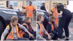 """O mamă furioasă, la volanul unui Range Rover, a intrat cu maşina în protestatarii care blocau strada, în UK: """"Fiul meu trebuie să ajungă la şcoală"""". VIDEO"""